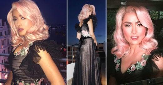 Salma Hayek sorprende en Cannes con increíble look de fantasía; ¡eligió cabello rosa pálido!