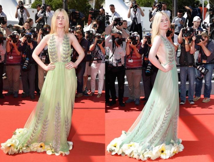 Elle Fanning usando un vestido en color verde de gucci
