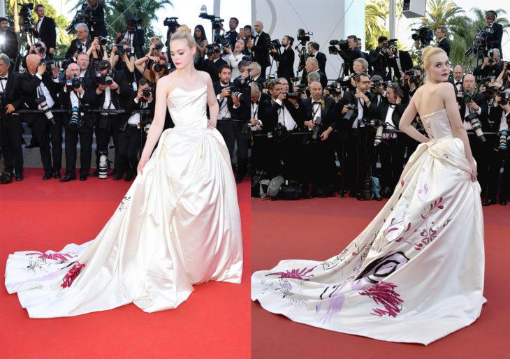 Elle Fanning usando un vestido Vivenne Westwood