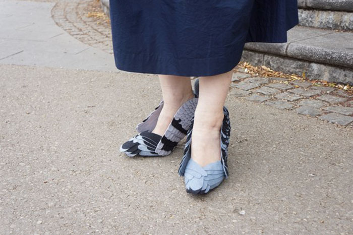 zapatos en forma de paloma