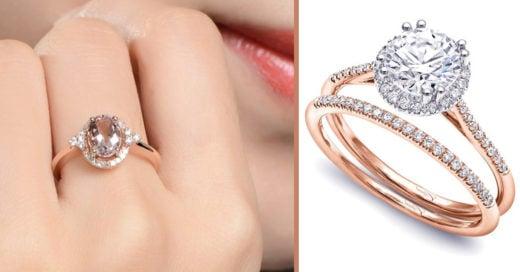 15 Preciosos diseños de anillos de compromiso con oro rosado, perfecto para las mujeres diferentes