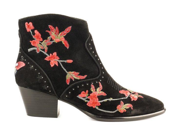 botines vaqueros negros de ante y flores
