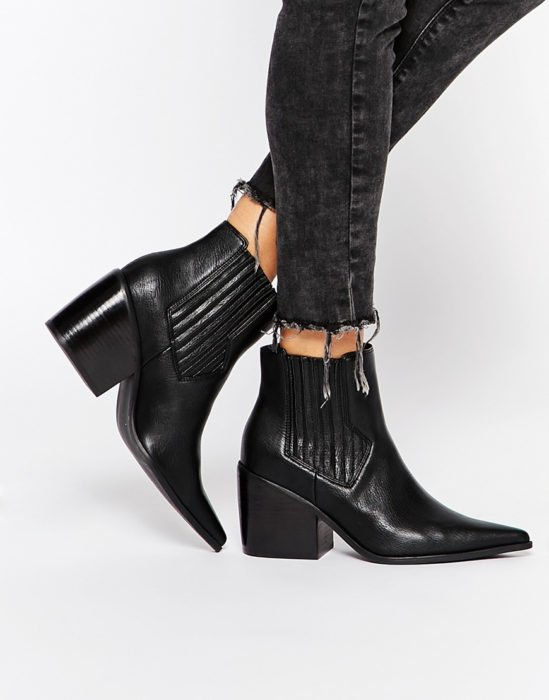 botines vaqueros negros de piel