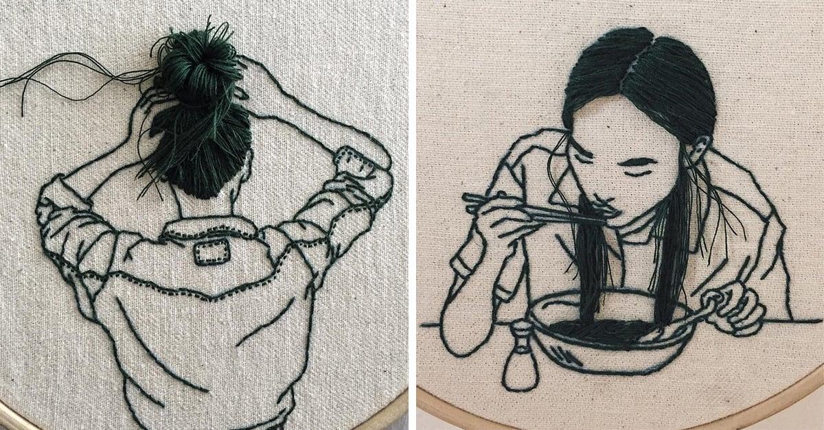 Esta artista borda increíbles peinados