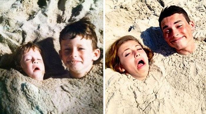 hermanos en la arena