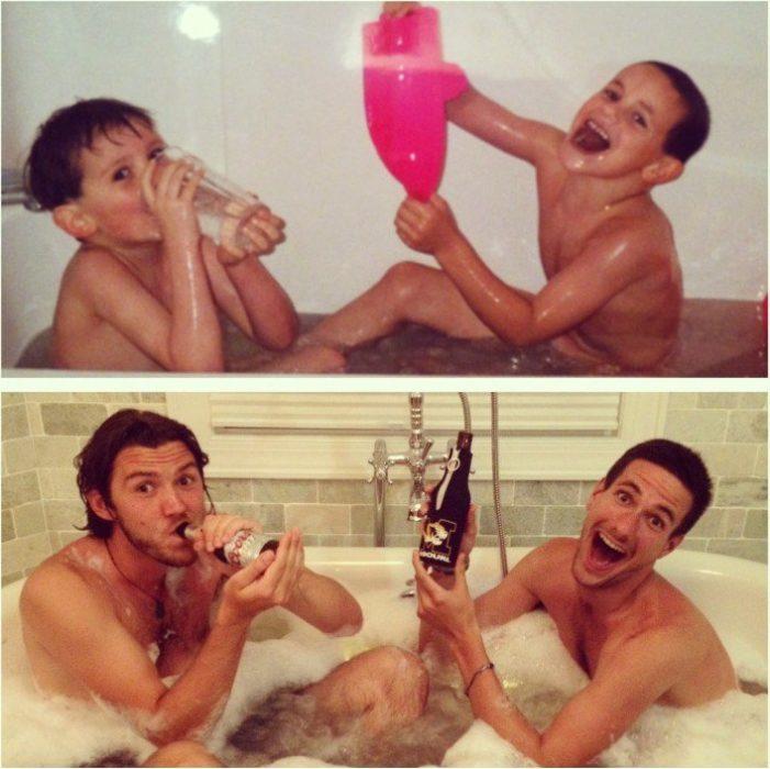chicos bañandose