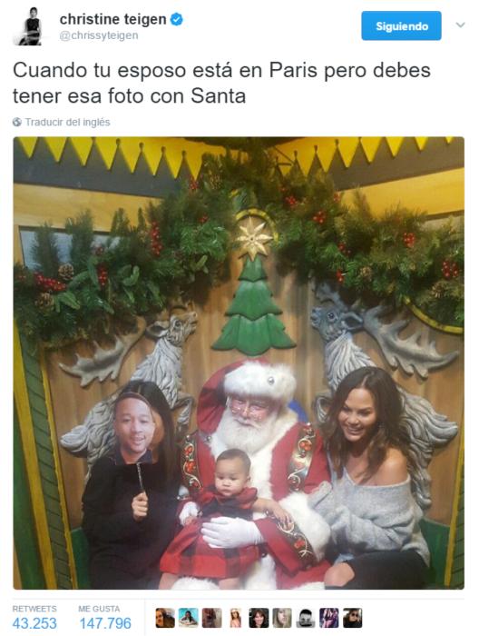 captura de pantalla de tuiter fotografia con santa