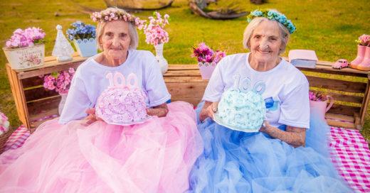 Gemelas festejaron su cumpleaños #100 con una divertida sesión de fotos