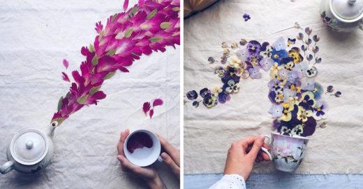 Así luce el encanto que sale de una humeante taza de té con flores