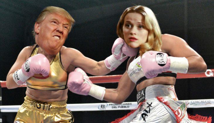 Trump y elle woods peleando en el ring