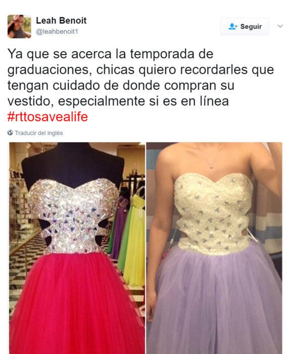Vestidos comprados en línea que son un fraude