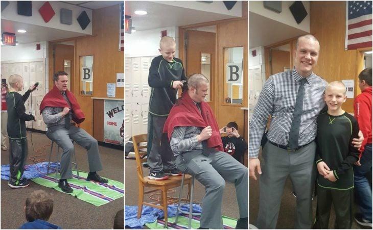 maestro deja que su alumno le rape el cabello