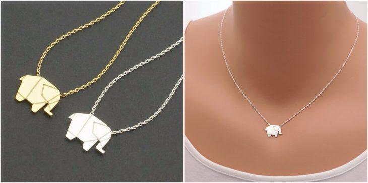 collar origami elefante