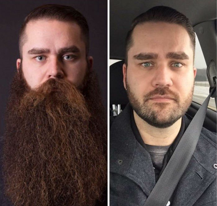 hombre con barba antes y despues