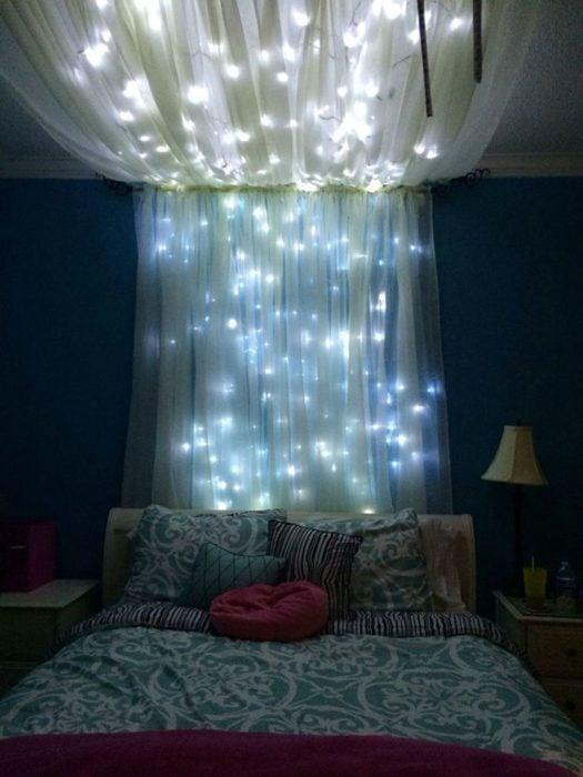 habitacion luces cortina