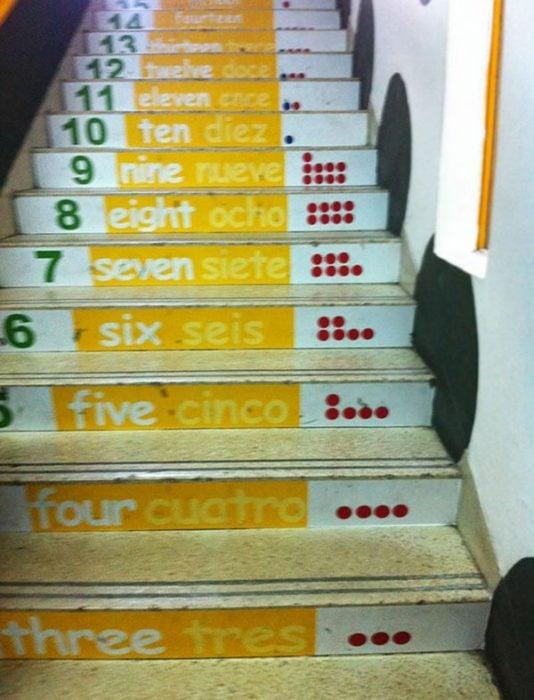 escalera con numeros