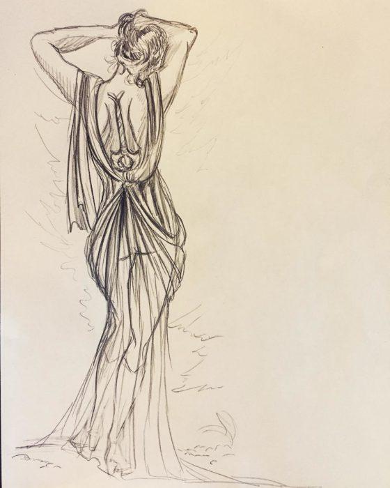 dibujo de mujer con vestido y espalda