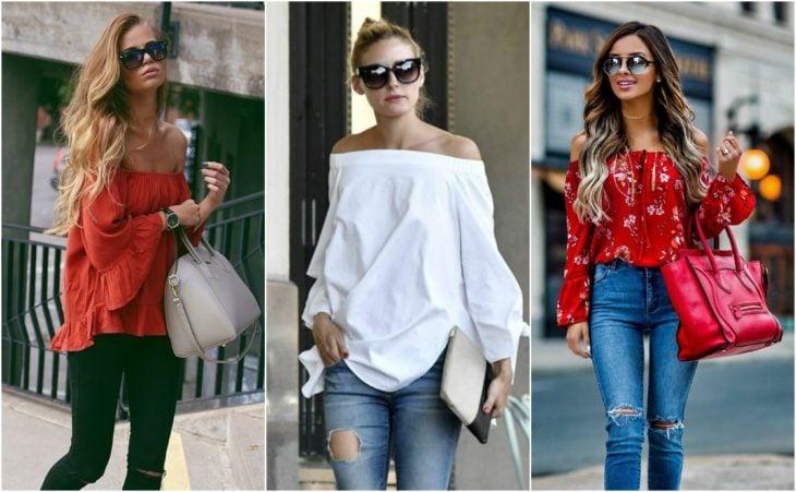 moda blusa sin hombros