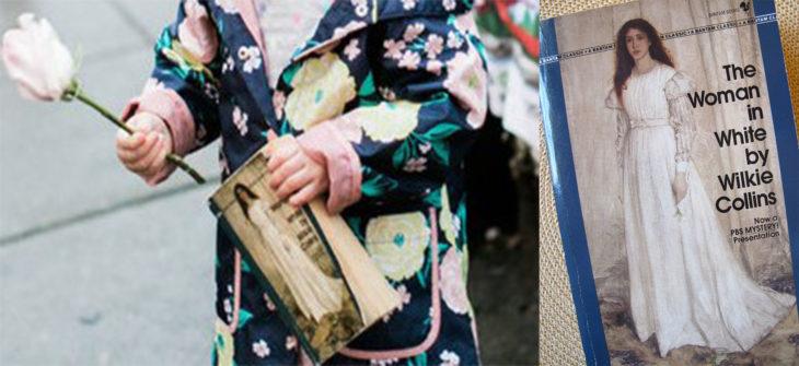 niña con libro y libro de mujer con vestido