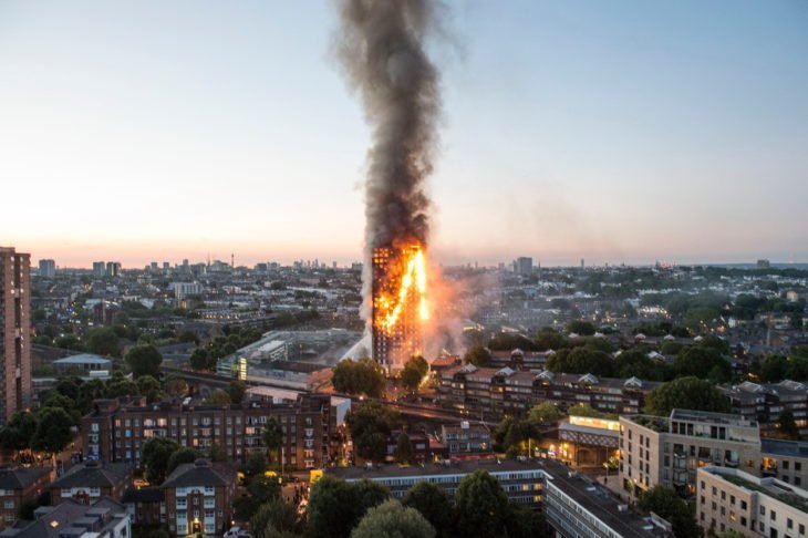 edificio incendiandose