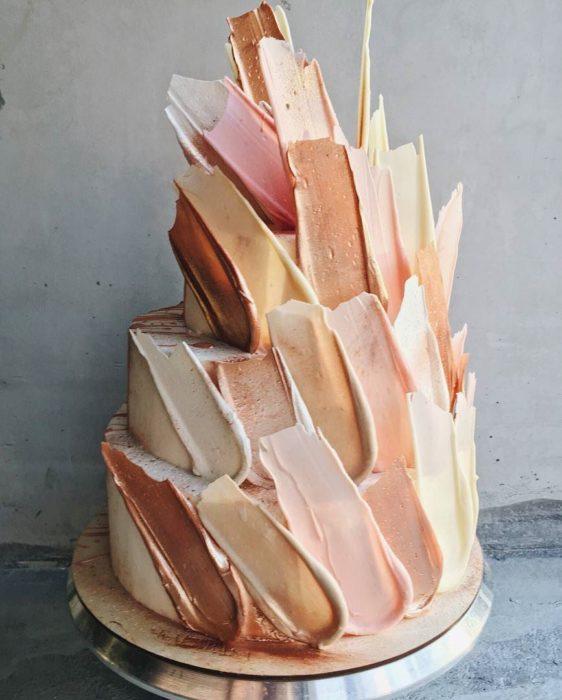 brushstroke cake salmon