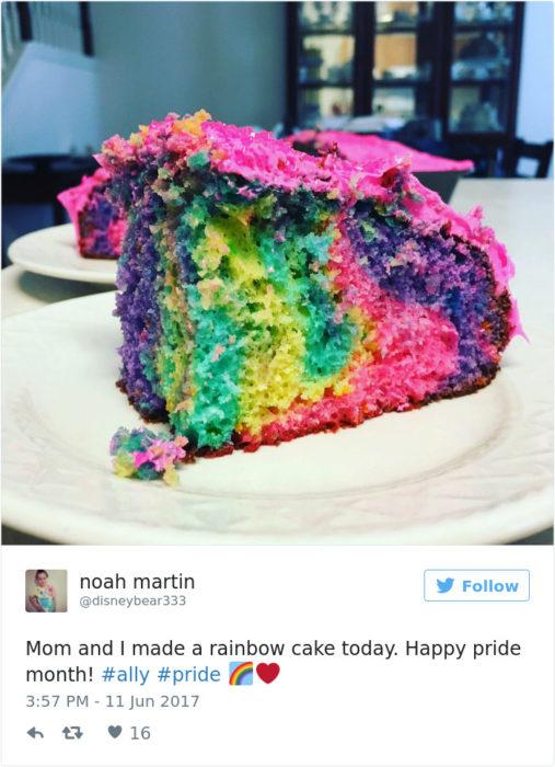 pastel con colores arcoiris