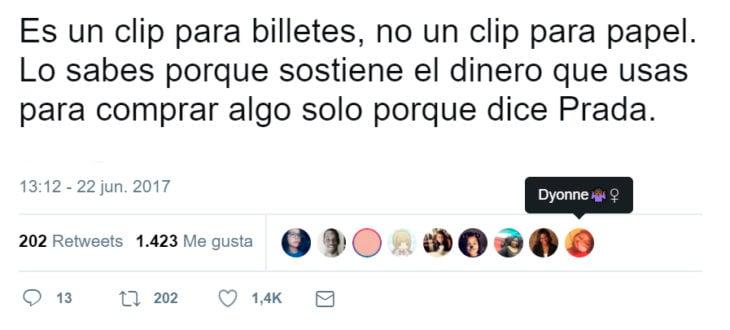 Comentarios en Twitter sobre un clip de Prada