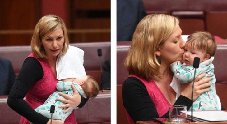 mujer rubia cargando bebé