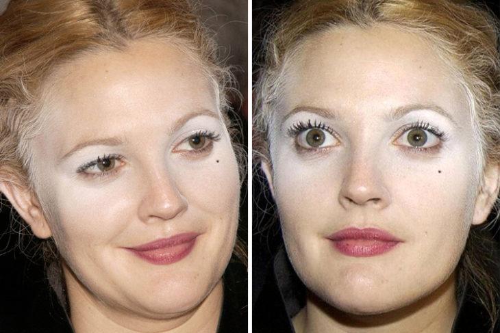mujer con maquillaje y polvo