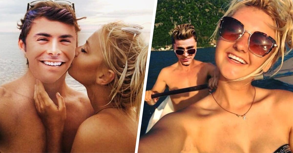 Editó todas las fotos de sus vacaciones y borró a su ex; en su lugar pegó la cara de Zac Efron