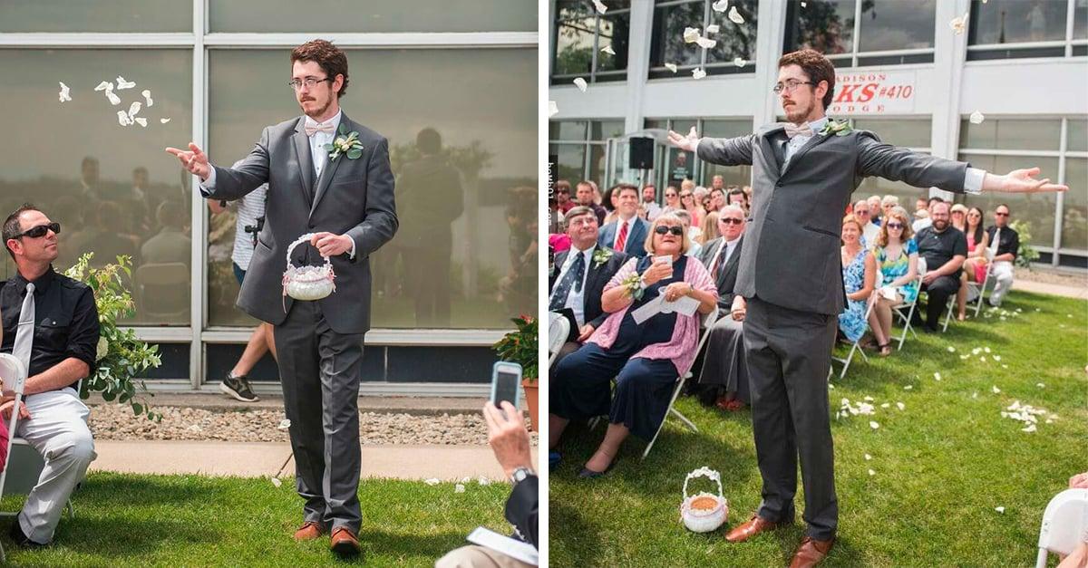 El hombre que fue la niña de las flores en una boda, es encantador
