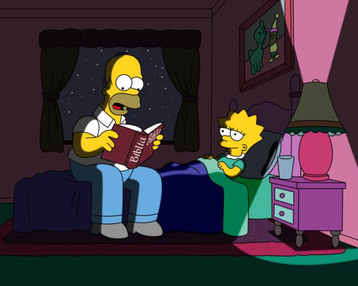 Homero leyendo un cuento para lisa
