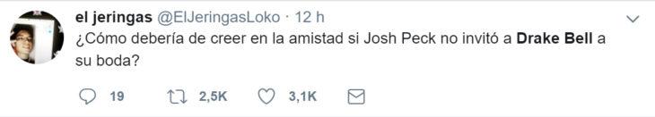 Comentarios en twitter sobre la boda de Josh Peck