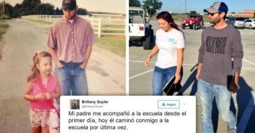 Padre acompaña a su hija el primer y último día de clases e Internet llora de la emoción