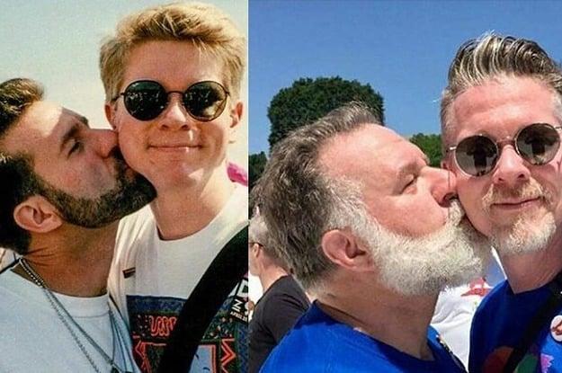 Pareja de omosexuaeles recreando una foto de hace 25 años