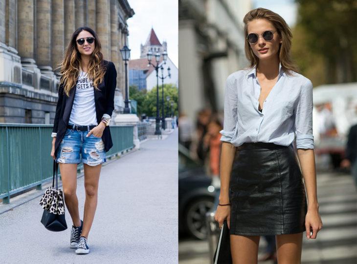 Chicas con falda de cuero y shorts