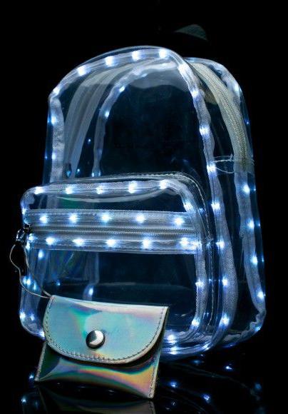 Mochila transparente con luz led