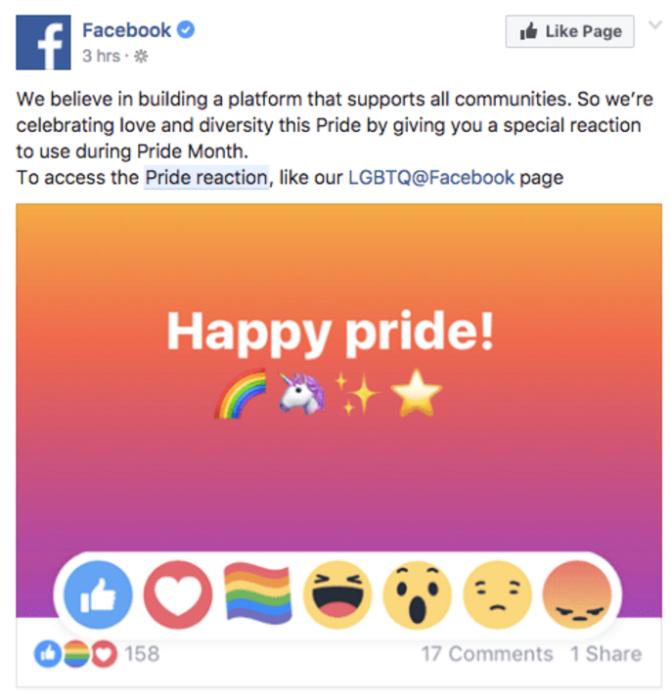 Nuevas reacciones de orgullo gay en facebook