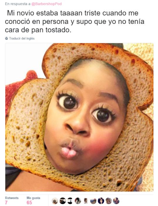 mujer con cara de pan captura de pantalla