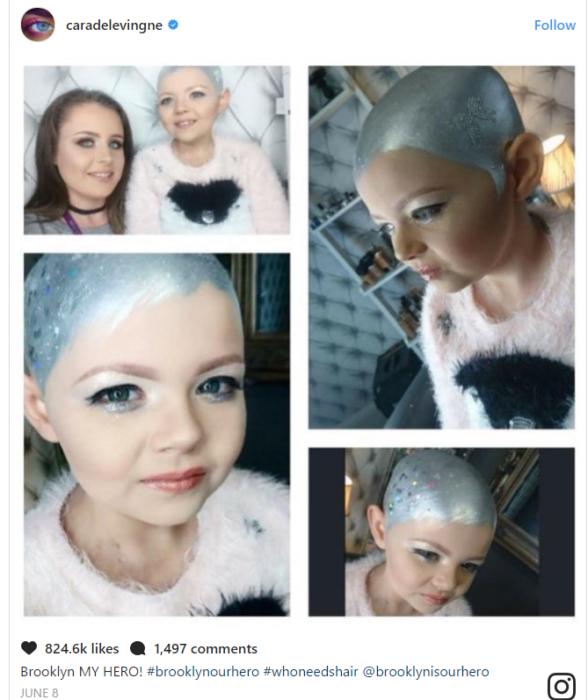 collage de niña con pintura en la cabeza