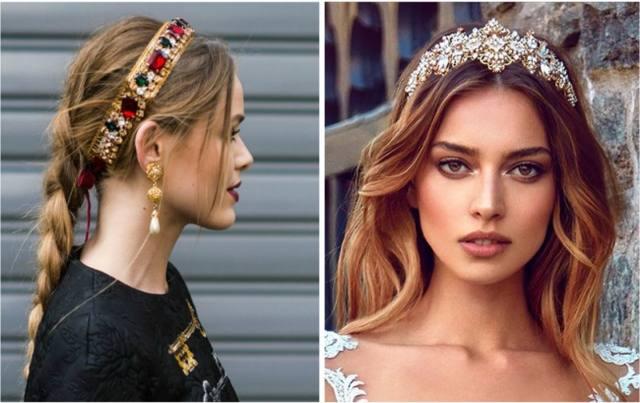 mujer con tiara y adornos