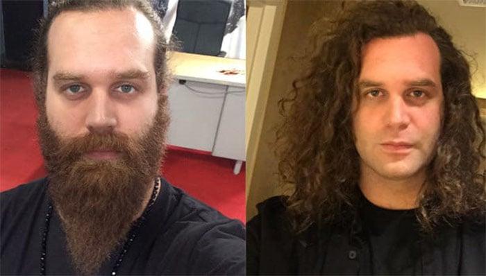 hombre con barba y sin barba
