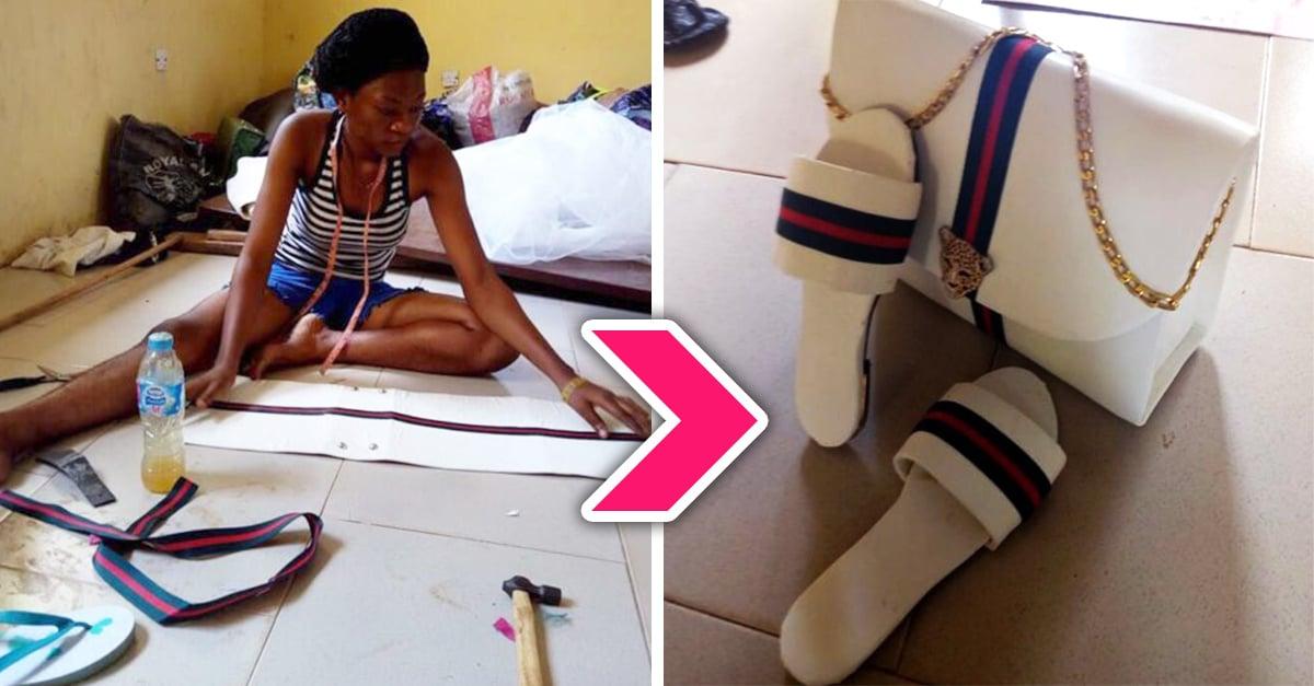 Chica nigeriana forja su propio exito al diseñar una linea de bolsos y zapatos hechos a mano