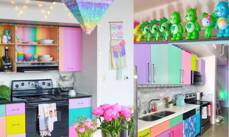 Chica que vive en un departamento arcoíris