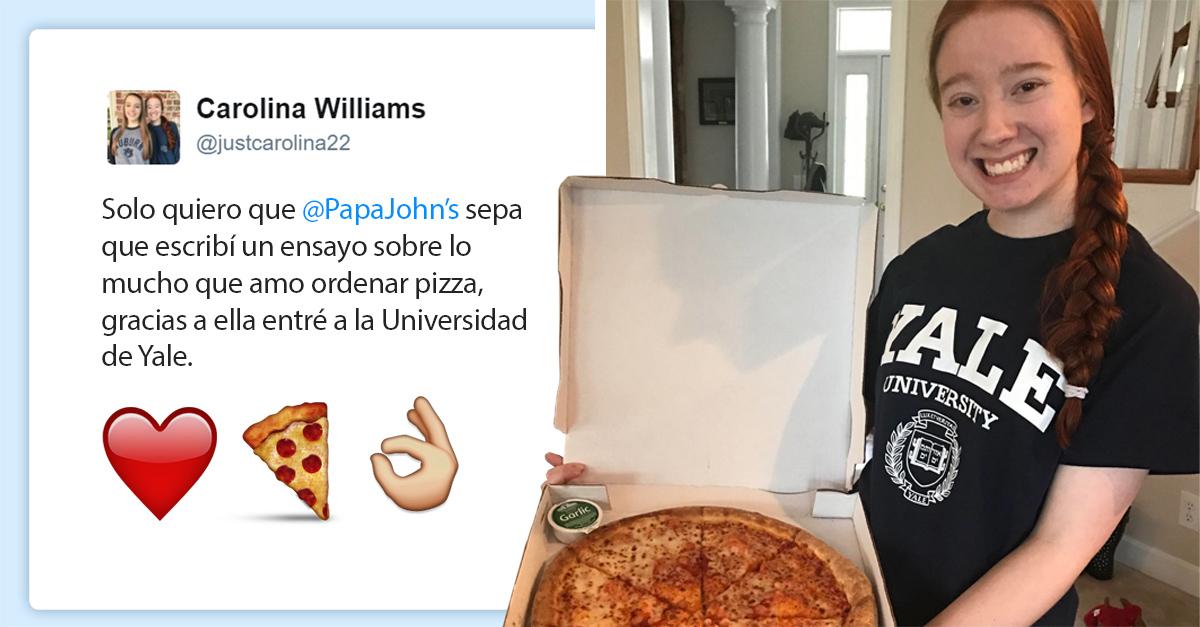 Esta chica fue aceptada en Yale después de escribir un ensayo sobre su amor por la pizza