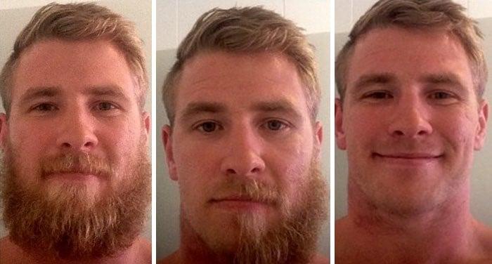 hombre rubio antes y despues de barba