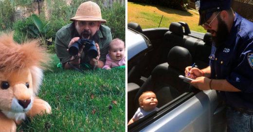 Papá toma adorables fotos con su bebe en divertidos disfraces