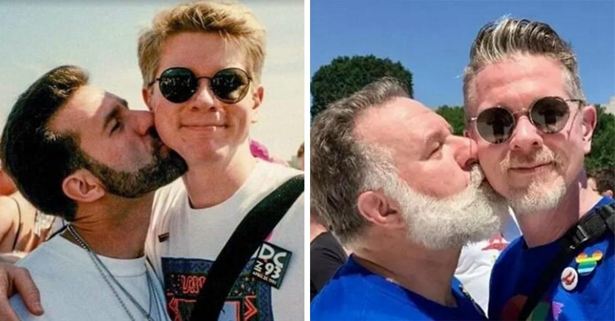 Pareja gay recrea foto del orgullo 25 años después; demuestran que no es 'solo una etapa'