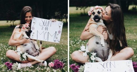 Esta chica realizó una sesión de fotos a su perrita embarazada