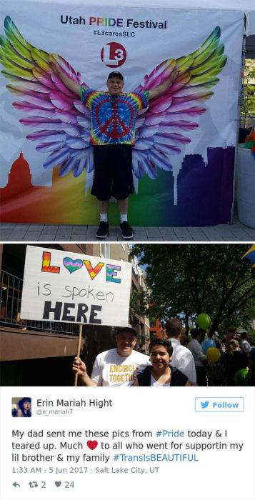 hombre con señal de orgullo gay